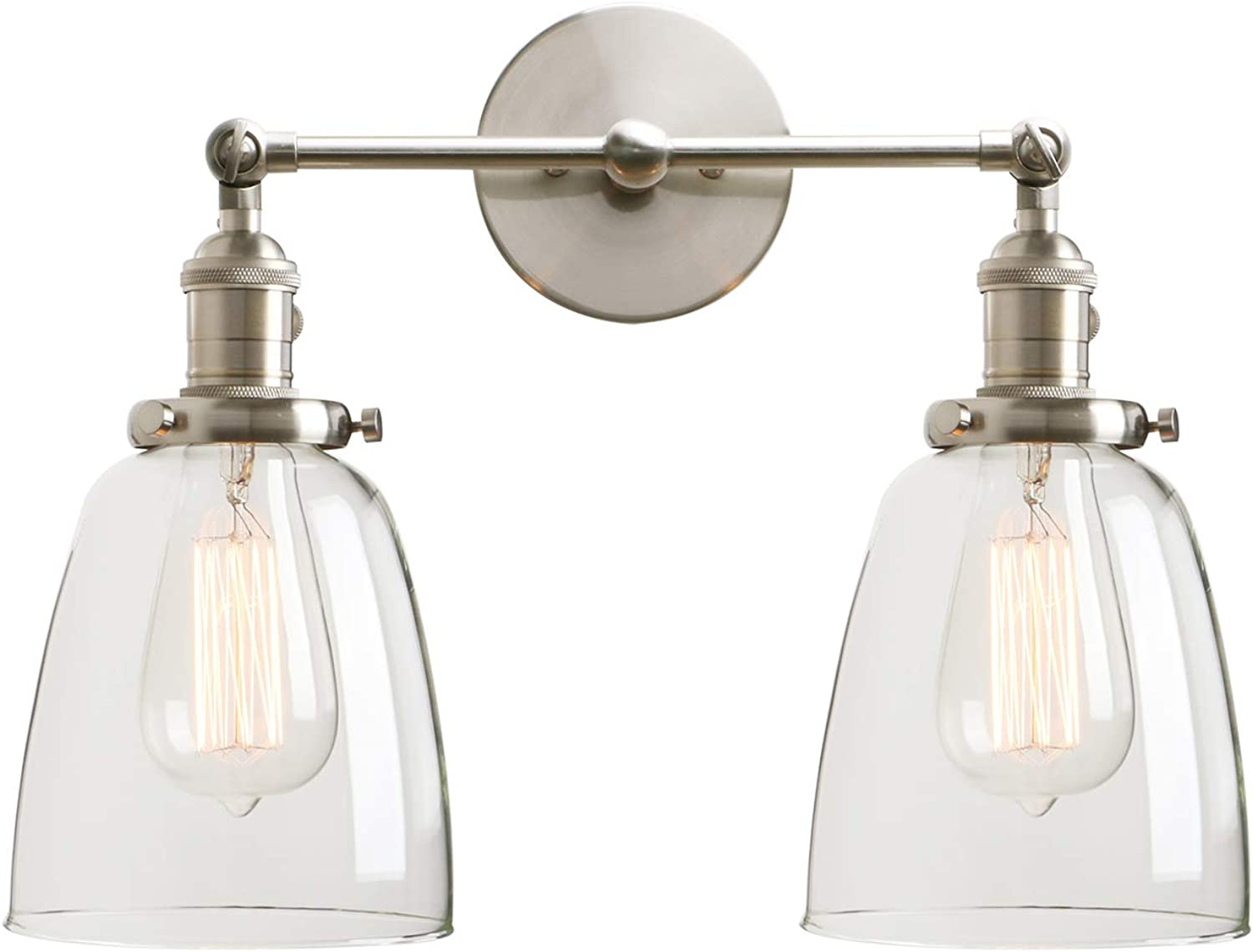 Permo Double Sconce Vintage Industrial Antique 2-Lights Wall Sconces with Oval Cone Clear Glass Shade (Brushed)