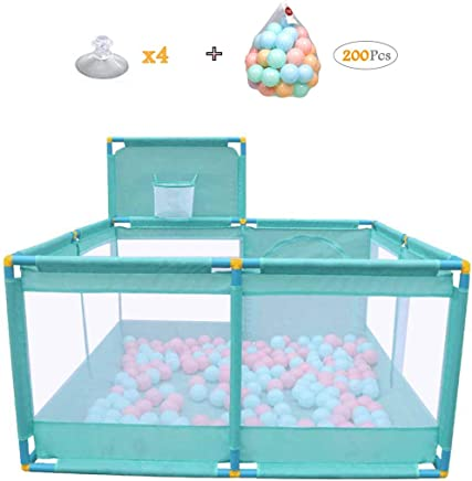 WJSW Household Protective Fence Baby Playpen Children s Compact Strong Play Yard Toys Washable Ball Pool 128x66cm Green