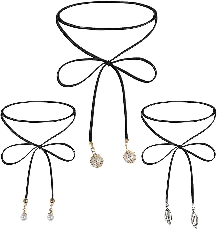BodyJ4You 3PC Choker Necklace Set Women Girls Black Skinny Bow Beads Classic Fashion Jewelry