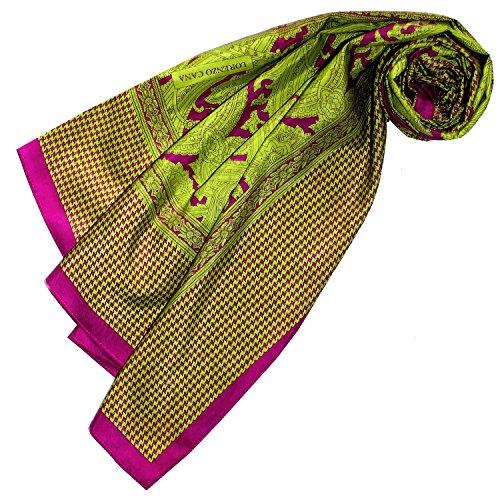 Lorenzo Cana Luxus Damentuch quadratisch XL Baumwolle kombiniert mit Seide 110 cm x 110 cm Naturfaser Marken Schaltuch Halstuch Hahnentritt Paisley 89122