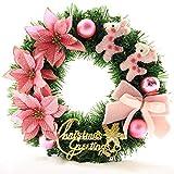 Weihnachten Pre-Lit verzierte Weihnachtsdekoration w 30 cm - Kranz, Creme/Rosa barir
