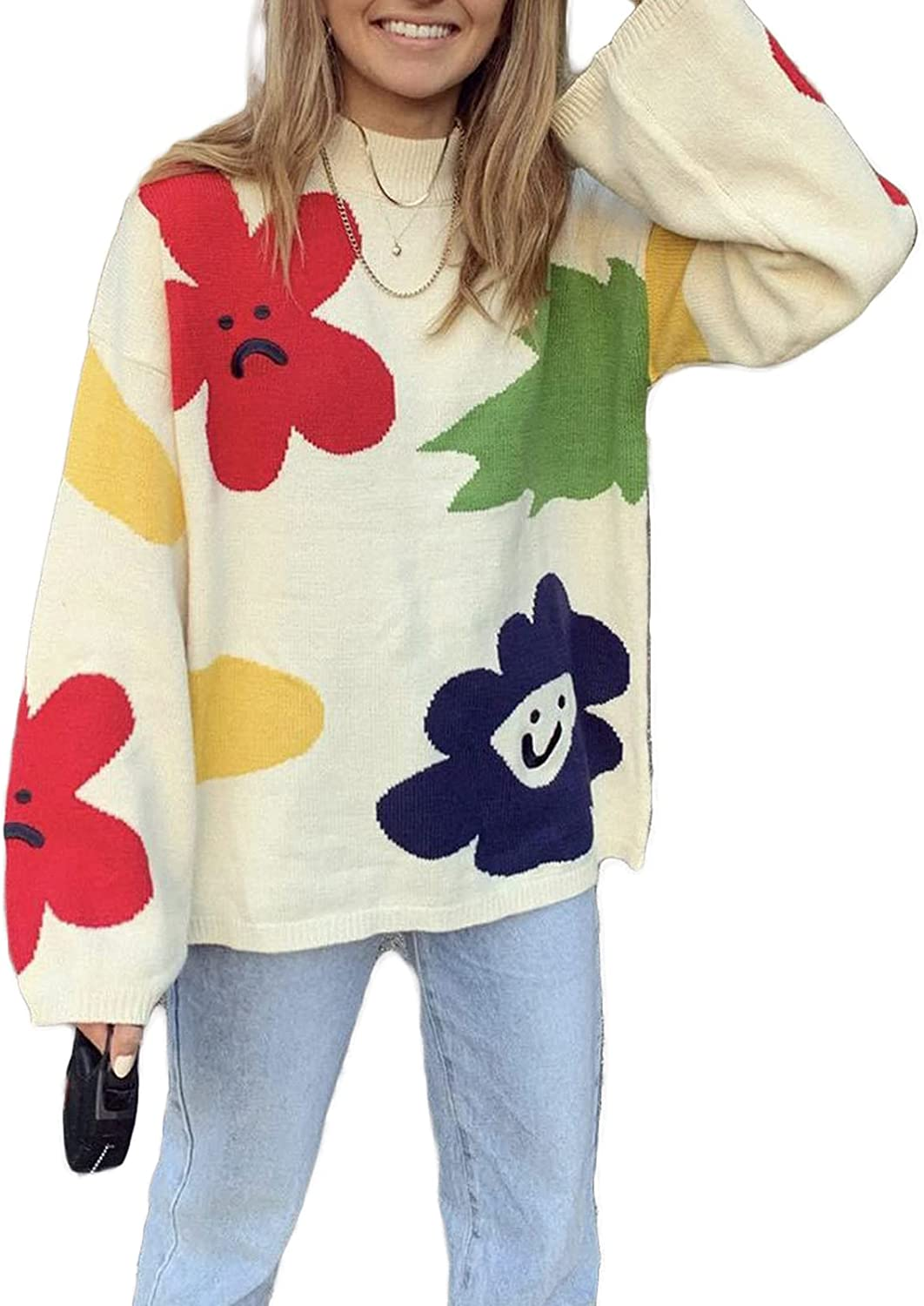 Women Cheap super special price Loose Pullover San Antonio Mall Knit Sweater Long Y2k Sweatshirt Oversized