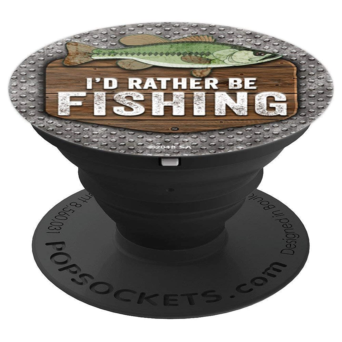 FUN FISHING BASS Guys Men Women Gift Rather Be Fishing - PopSockets Grip and Stand for Phones and Tablets