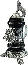 Crystal German Beer Stein 0.5 liter tankard, beer mug, black, pewter foot on Wolf paws and Howling Wolflid