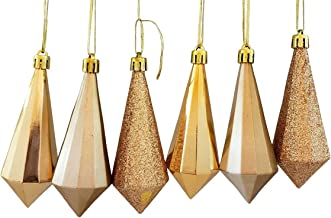 Champagne Christmas Chandelier Ornaments - Two 6 Packs Premium Quality Shatterproof