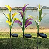 XVZ Outdoor Solar Garden Light, 3 Pack Solar Calla Lily Light with 15 Calla Lily Flower,Multi-Color Changing Waterproof Solar Landscape Lights for Garden,Patio,Pathway Decor(White+Purple+Yellow)