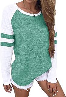 YOINS Maglia Donna Manica Lunga Camicetta Invernale Casuale Felpa con Righe Girocollo T-Shirt Oversize Maglietta