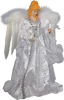 """Kurt Adler 14"""" 10-Light White and Silver Angel Treetop"""