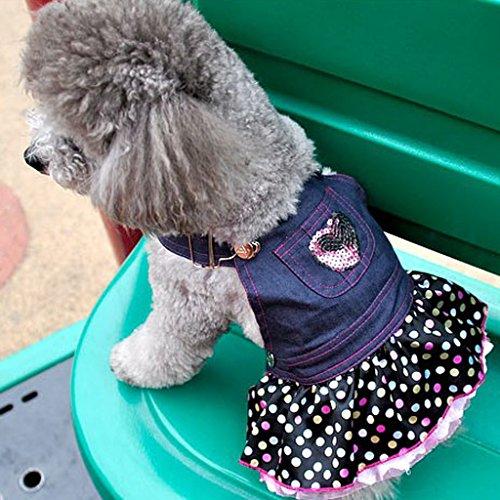 petsola Hund Welpen Denim Latzhose Rosa Herz Pailletten Polka Dot Rüschen Pullover - L