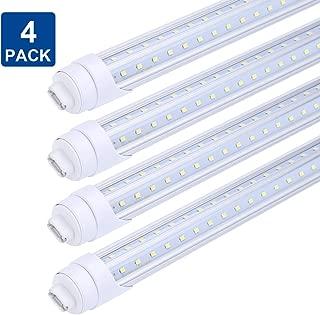 8ft R17D Rotatable HO Base led Tube Light 65W,270 Degree V Shaped LED Chip Bulbs,T8 6000K Cool White,Clear Cover,85V-265V, Dual-Ended Powered(Pack of 4)