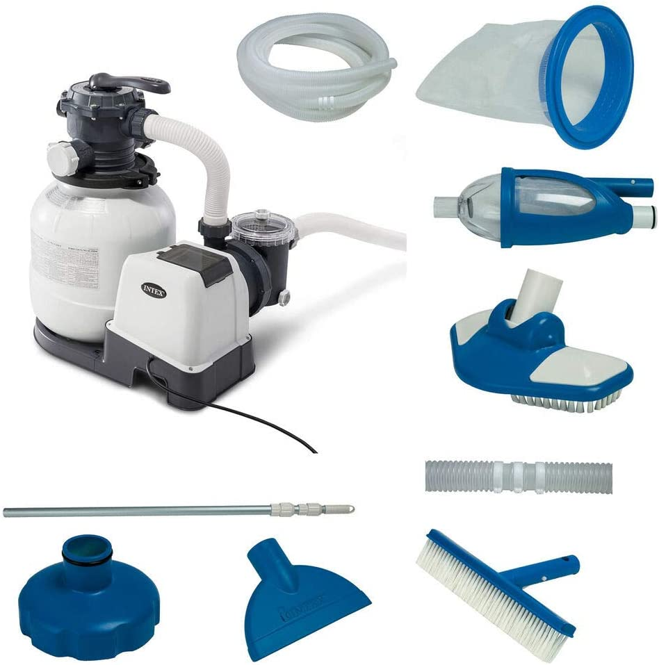rianiq07 New popularity 2100 Bombing new work GPH Above Ground Pool w Pump Po Deluxe Sand Filter