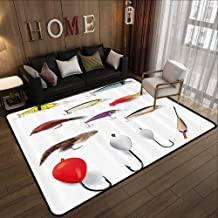 Contemporary Indoor Area Rugs,Fishing Decor,Netting Materials with Swivel Sinkers Fly Rods Floats Gaffs Recreational Pastime,Multi 78.7