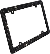 TASIRO 8 Row Pure Handmade Waterproof Bling Rhinestones Aluminum License Plate Frame with 4 Holes Bonus Matching Screws Caps (Black rhinestones)