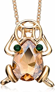 DianaL Boutique Beautiful Lucky Money Frog Toad with Coin Pendant Necklace 18K Gold Plated
