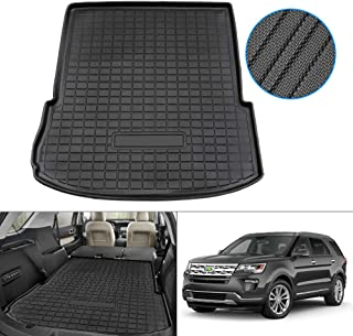 KUST Cargo Liner Compatible with 2020 2021 Ford Explorer Rear Trunk Mat Liners Behind The 2nd Row Seats and 3rd Row Seats