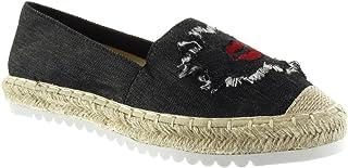 03bef86a Angkorly - Zapatillas Moda Alpargatas Mocasines Slip-on Suela de Zapatillas  Mujer fantasía Bordado Cuerda