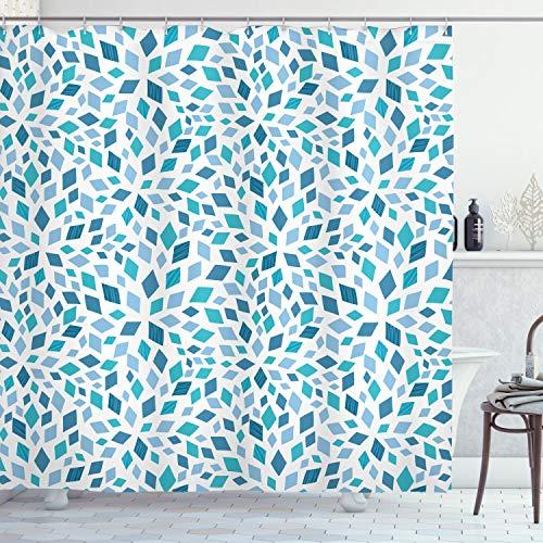 ABAKUHAUS Teal Duschvorhang, Abstrakte Mosaik-Blau-Töne, mit 12 Ringe Set Wasserdicht Stielvoll Modern Farbfest & Schimmel Resistent, 175x200 cm, Blaugrau Türkis Weiß
