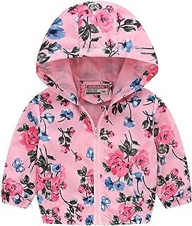 SEXYTOP Toddler Kids Baby Grils Boys Long Sleeve Cartoon Print Lightweight Trench Coat Zipper Hooded Jacket