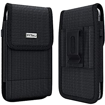 PiTau Rugged Holster Designed for iPhone SE  2020  iPhone 8,7,6S,6 – Heavy Duty Nylon Cell Phone Belt Clip Case Pouch Holder Compatible with iPhone Otterbox Case/Lifeproof Case/Battery Case on Black