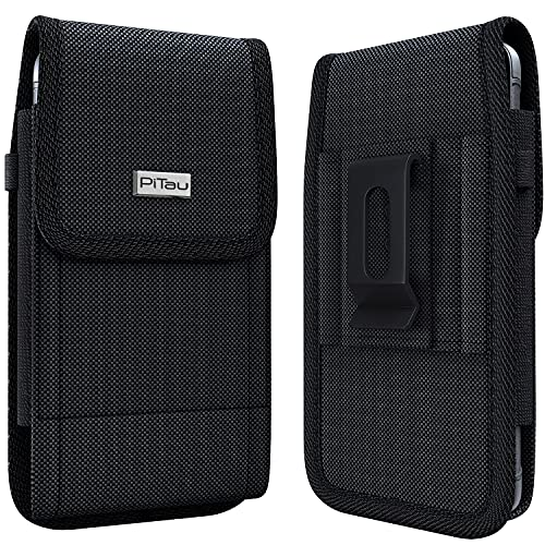 PiTau Phone Holster for iPhone XS Max, iPhone 11 Pro Max Belt Holder Rugged Tactical Cell Phone Holster Pouch Case w/ Belt Holster Clip Fits iPhone XS Max/11 Pro Max/8 Plus/7 Plus/6S Plus with Case on