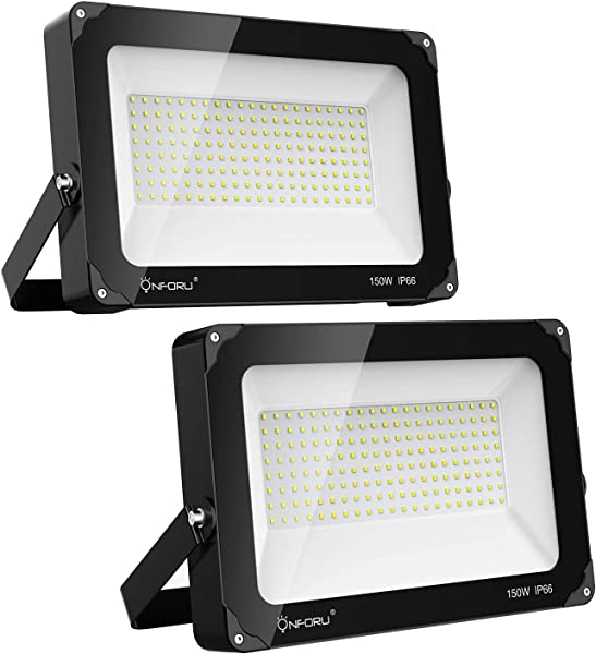 Onforu 2 Pack 150W LED Flood Light 15 000lm 5000K Daylight White IP66 Waterproof Super Bright Security Lights Outdoor Floodlight For Yard Garden Playground Basketball Court