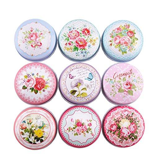 TooGet DIY Kerze Hübsche Blechdosen, Leere Wiederverwendbare Blechtassen für Hausgemachte Teelichter, auch Ideal für Trockene Lagerung, Gewürze, Camping, Partyartikel und Geschenke - 9PCS