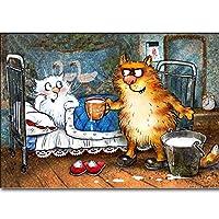 漫画の猫 -5Dダイヤモンドペインティングアート絵画セットキットクロスステッチ工芸品、手作り作品モザイクギフト家の壁の装飾またはレジャー親子活動40X50cm