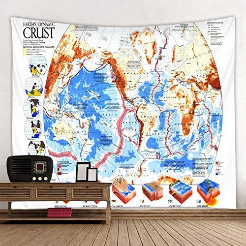 XXYWJF Mapa del mundo de poliéster para colgar en la pared, estilo bohemio, con mapa de colores, mandala, toalla de playa, manta de yoga (color: 2020 825, tamaño: 95 x 70 cm)