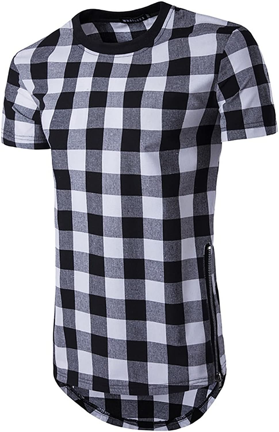 Men's TShirt Sports Cotton Short Sleeve  Solid colord Plaid Round Neck Long Section Double Side Zipper Casual Slim Shirt Tops (color   2, Size   M)