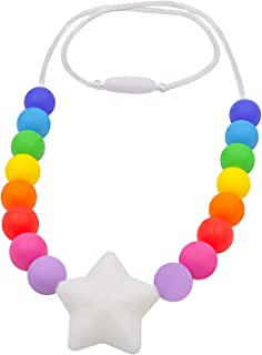 Chew Necklace for Sensory Kids, Silicone Star Chewy Jewelry for Boys Girls with Autism ADHD SPD, Oral Motor Baby Nursing Chewing Toy Reduce Teething Biting Fidgeting (White Star)