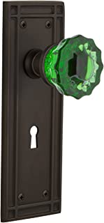 Nostalgic Warehouse 721745 Mission Plate with Keyhole Passage Crystal Emerald Glass Door Knob in Oil-Rubbed Bronze, 2.375