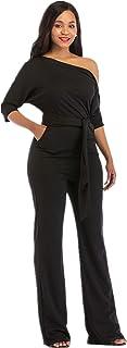 One Shoulder Jumpsuits for Women Elegant Night Sexy Casual Summer Rompers Dress Wide Leg Shorts Long Pants Belt Pockets