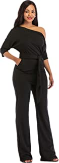 Sexy Jumpsuits for Women Elegant Plus Size Clubwear Casual Womens One Shoulder Rompers Dress Wide Leg Long Pants