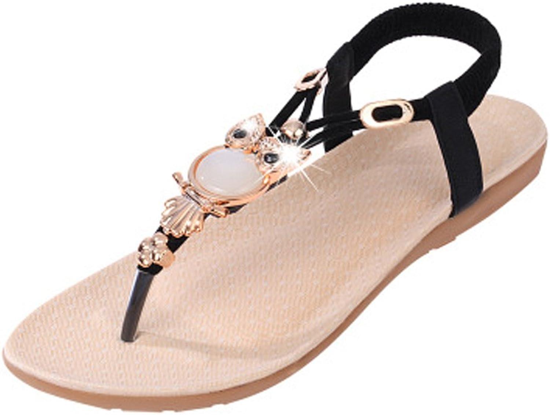 DUOYANGJIASHA Fashion Brand Best Show Women's Summer Style Elastic T-Strap Bohemia Beaded Owl Flat Sandals Black