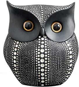 Owl Decor Statue Sculpture for Home, Office, Bookshelf,TV Stand Decoration Resin Animal Sculpture Minimalist Style Crafts Gift for Friend or Family, Animal Lovers (Black)