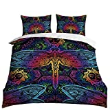 HOSIMA 3D Print Over Set Full Size Colorful Dragonfly Bedding Set Decorative Microfiber Polyester Comforter Cover Vintage Color Print with 2 Pillow(No quilt!)(BIX86,Twin 70