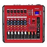 ammoon Mezclador de Audio Digital de 6 Canales Consola de Mezcla con Función de Amplificador de...