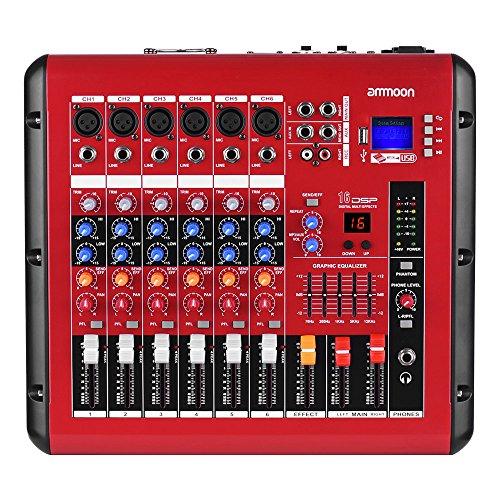 Ammoon digitaler Audio-Mixer, 6 Kanäle, Mischpult mit Leistungsverstärkerfunktion, Phantomspannung 48 V, USB-Schnittstelle für die Aufnahme, für DJs, Bühnen und Karaoke