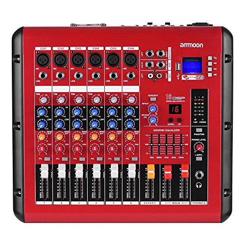 Ammoon 6-kanaals Digital Audio mengpaneel mengpaneel met 48V versterker Phantom USB-interface voor DJ Stage Karaoke