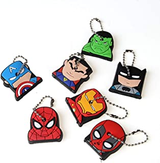 CheeseandU 7Pcs Cute Super Hero Key Cover Cap Creative Silicone Cartoon Captain Anime Key Holder with Ring Ideal Gift for Kids Women Men Husband Wife Brother Sister Friends Coworker Roommate