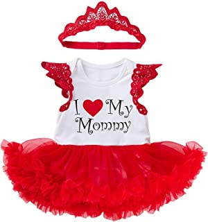 2PCS Mother's Day Newborn Baby Girls Outfits Sleeveless Tutu Romper Dress with Hairband Clothes Set