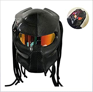 Carbon Fiber Motorcycle Helmet/Skull Monster Style Full Face Helmets Jagged Warrior Racing Motorbike Helmet with Personality Hair Braid and LED Light Red Eyes (55-64cm) Black