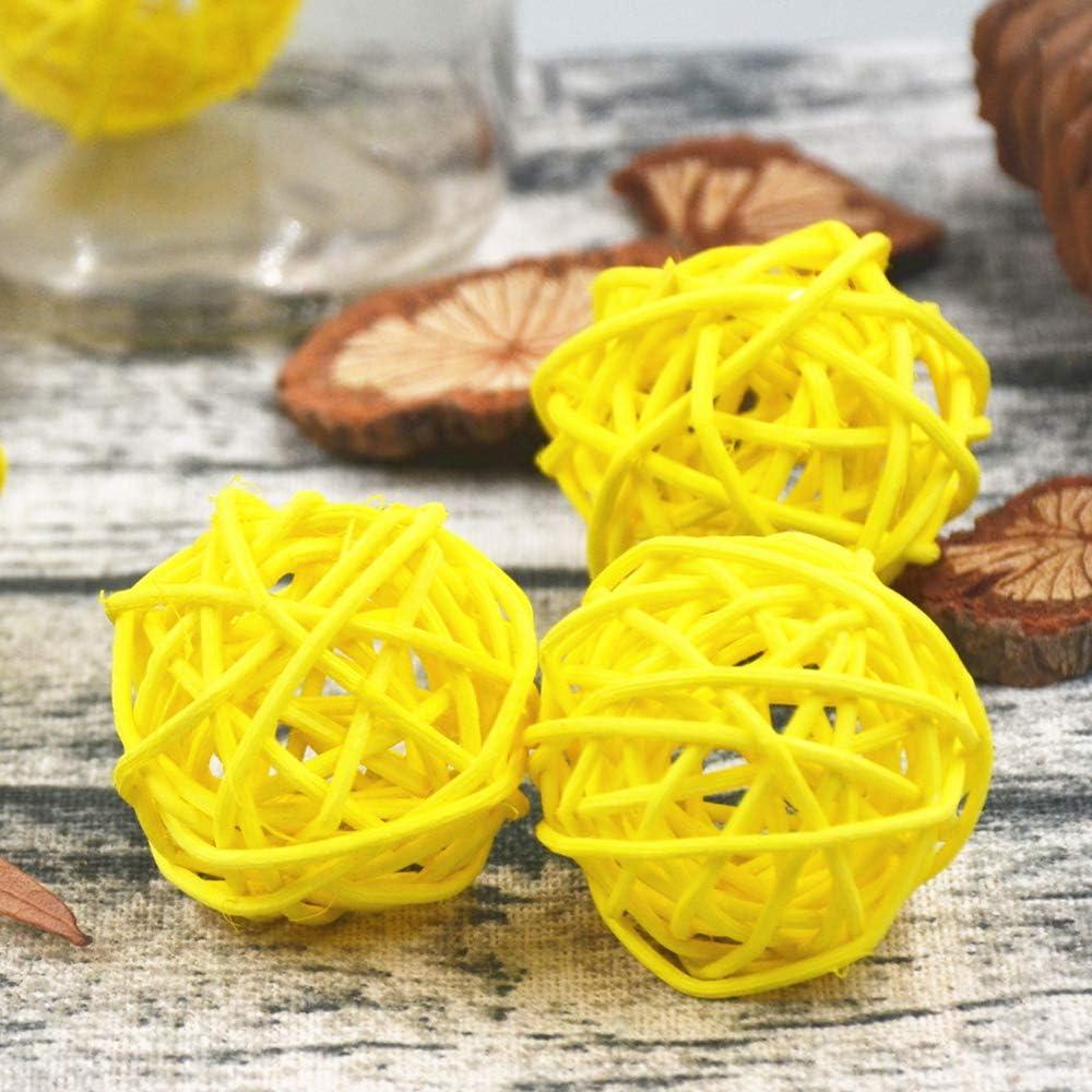 Worldoor 12 Pieces Outlet sale feature Wicker Rattan Decorative Fill Orbs unisex Balls Vase