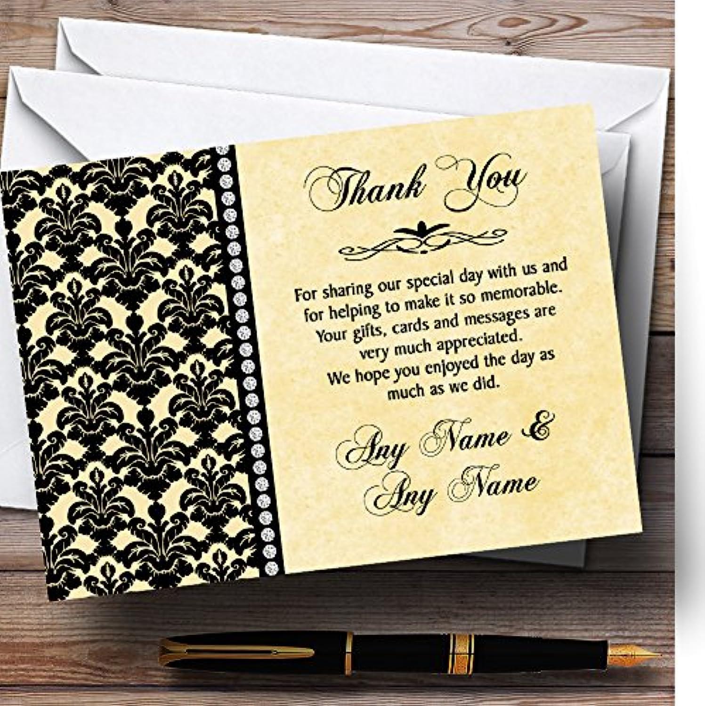 Yellow Black Damask & Diamond Personalised Wedding Stationery Thank You Cards