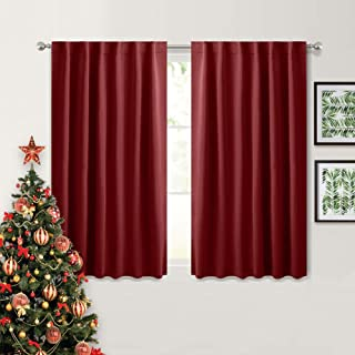 PONY DANCE Blackout Curtains for Bedroom - Decoration Xmas Festival Window Treatments Light Block Thermal Curtain Drapes Set Energy Saving, Wide 52 by Long 54 inch, Red, 2 Panels