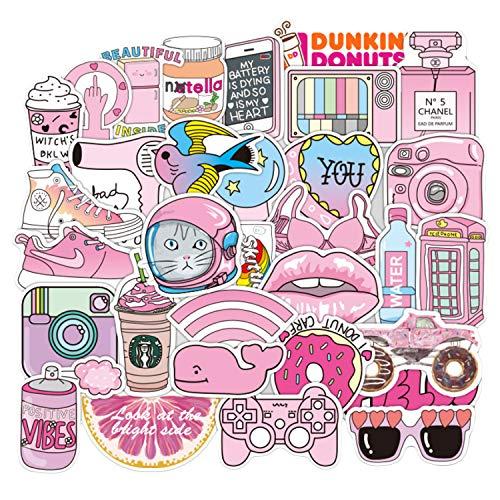 Vococal 50 Fogli Adesivi per Laptop Adesivi per Skateboard Adesivi per Valigie personalità della Moda Cute Pink Decal Stickers