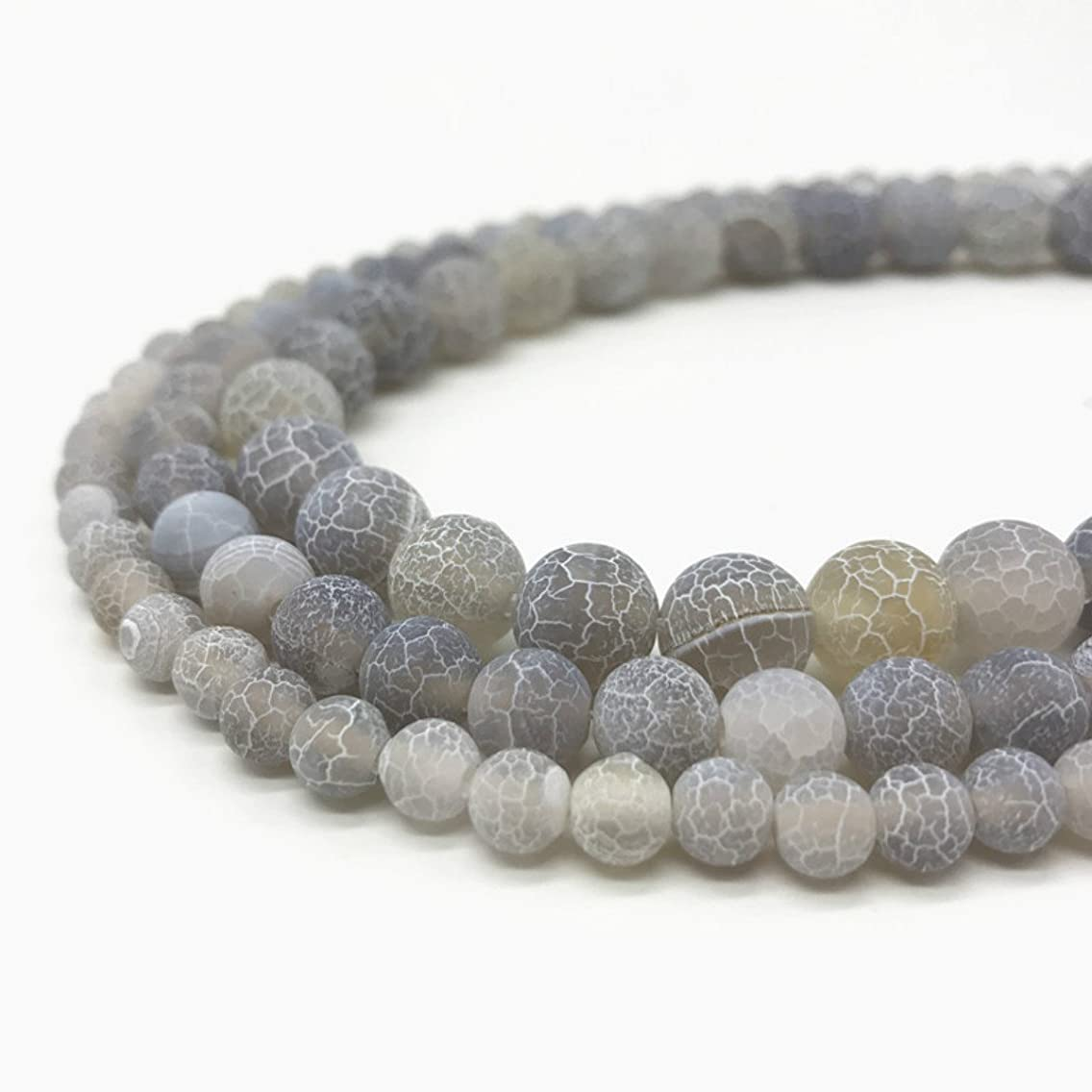 8mm Gray Frosted Crackle Dragon Vein Agate Beads Round Semi Precious Gemstone Loose Beads for Jewelry Making (47-50pcs/strand)