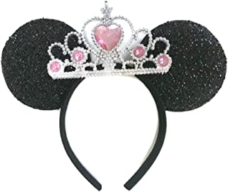 MeeTHan Princess Tiara Crown Sparkling Sequin Cat Mouse Ears Headbands Hair pieces : M6 (Black-Pink1-L)