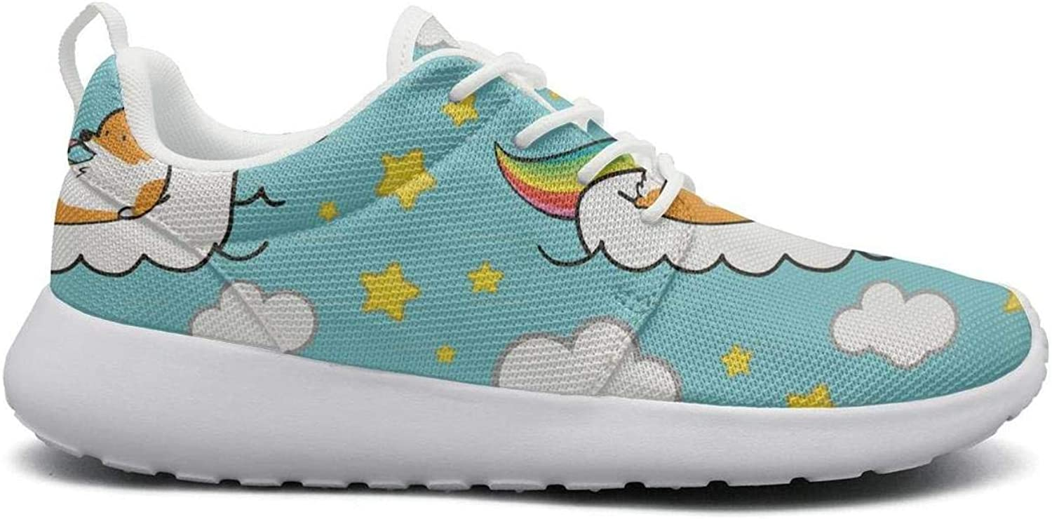 FEWW11 Women Fashion Lightweight shoes Sneakers Corgi Unicorn Rainbow Stars Breathable Running Lace-Up