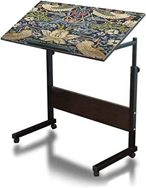 Adjustable Side Table Portable C Shaped Steel Frame Computer Desk for Bed Sofa Couch Home Office Dark Walnut - William Morris